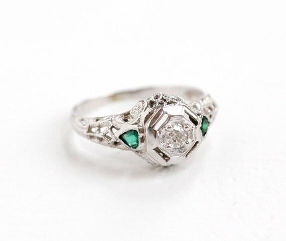 emerald gemstone engagement rings antique 18k white gold