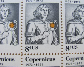 Nicolaus Copernicus Full Sheet of 50 Vintage UNused US Postage Stamps 1973 8 Cent Scott 1488 Astronomy Science Fiction Space Astrophilately