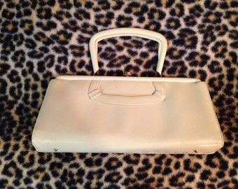 White Patent Leather Purse Pocketbook Handbag Mod Mid-Century Small Rockabilly