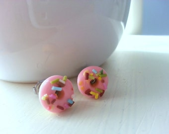 Pink donut earrings with colorful sprinkles - miniature donut earrings - novelty food jewelry