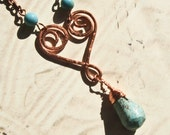 Wire-wrapped copper heart and stone necklace