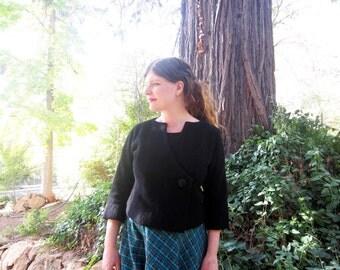 1950s black jacket boucle wool  I Magnin