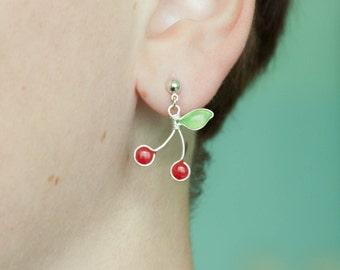 Tiny cherry post earrings