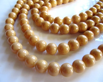 8mm Glass Beads in Light Mocha Brown Tan, Round, Opaque, Shiny, 50pcs