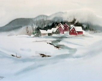 Peace on Earth, Watercolor Print, Winter, Peaceful, Snow, Village, White, Red, Christmas