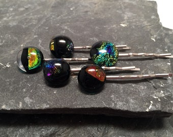 Fused Dichroic Glass Bobby Pins, Dichroic Bobby Pins, Glass Hairclips, Dichroic Hairclips