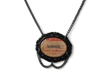 Poison Bottle Label Necklace - ARSENIC - Very Limited Ed Gothic Spooky