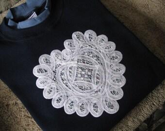 Battenburg Lace Embellished Navy Sweatshirt with Med Blue Collar - 2X
