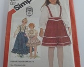 UNCUT Simplicity Pattern 5628 Girls Blouse & Skirt with Detachable Suspenders in Two Lengths Size 5 Vintage 1980s Sewing Gunne Sax