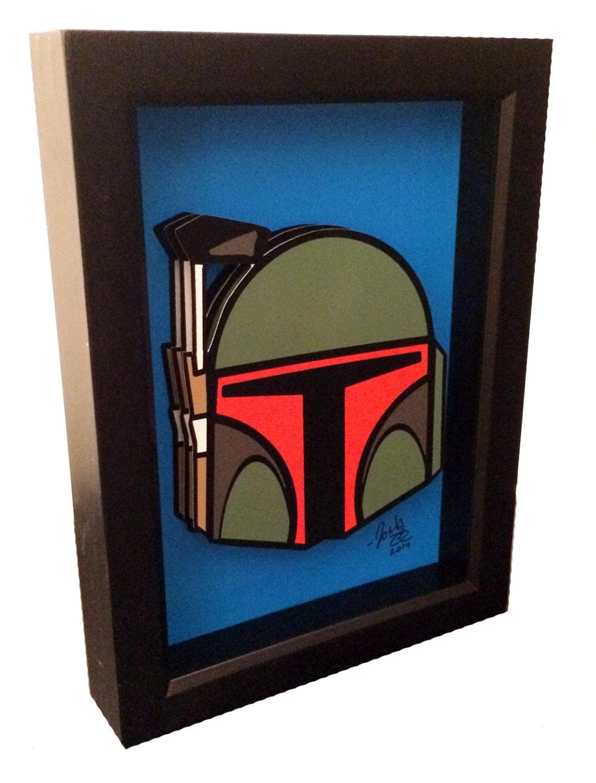 star wars art boba fett art 3d pop art star wars print. Black Bedroom Furniture Sets. Home Design Ideas