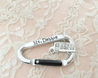 School bus driver gift personalized carabiner clip, hand stamped keychain