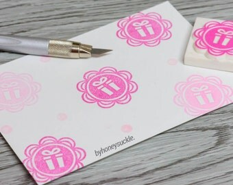 gift rubber stamp, gift tag diy, present stamp, dolly stamp, pink rubber stamp, birthday card stamp, scallop stamp, friends birthday present