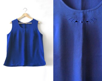 Silky Poly Top - Navy Blue