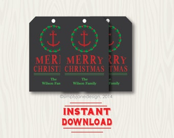 Editable Christmas Gift Tags, Chalkboard style, Nautical, with anchor, holly wreath, instant download, with editable and changeable text.