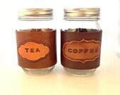 Leather Mason Jar Coffee/Tea Cozy