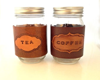 Leather Mason Jar Coffee/Tea Cozy