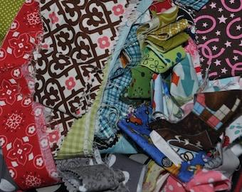 Fabric Scrap Bag Strips, Designer Cottons, over 2 yards total