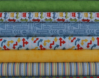 Cruiser Blvd Blue 8 Fat Quarter Bundle by Sheri McCulley Studio for Riley Blake, 2 yards total