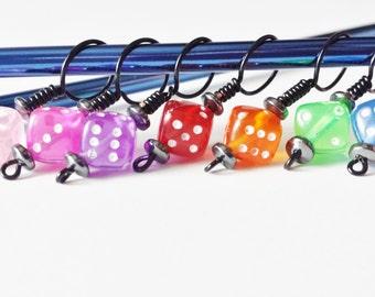 Rainbow Beaded Dice Stitch Markers Set of 7