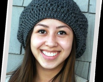 Smokey Mountain Medium Gray Crochet Slouch Style Beanie Hat