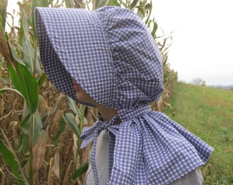 Bonnet -bule plaid print fabric - 100% cotton - neck shade - buckram brim - historically accurate - no elastic!