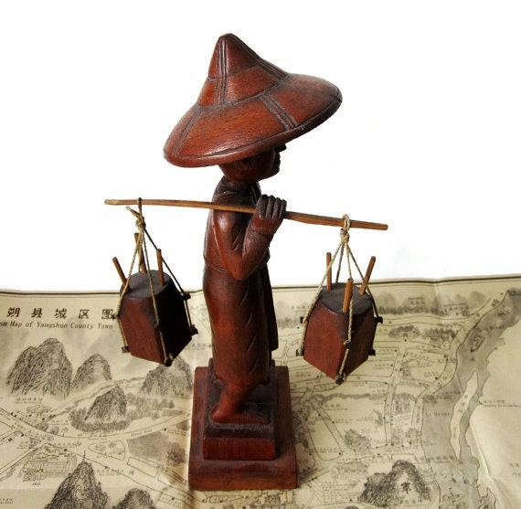 Carved Wooden Figure - Man with Buckets- Vintage Asian Carved Chinese Man