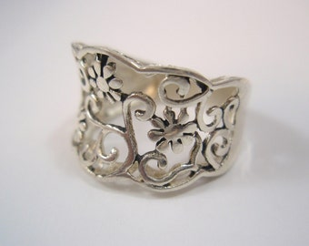 Solid Sterling Silver Ring 925 Fabric Lace Flowers Ring