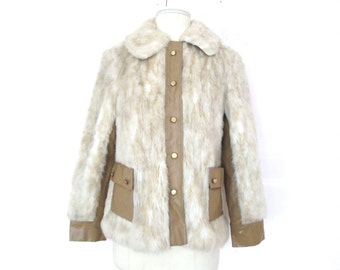 Vintage Faux Fur and Tan Union Made Jacket size - S/M