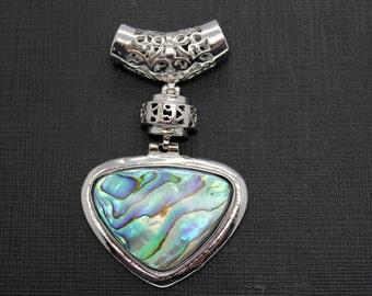 Beautiful Abalone Shell Inlay Silver-Plated Pendant