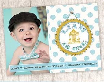 Boys Carousel Birthday Photo Invitation, Boy 1st First Birthday Party Invite, Baby Blue - DiY Printable || Dapper Delight at Carousel Sight