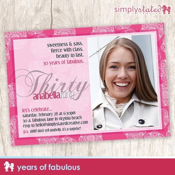 Years of Fabulous   custom adult birthday party photo invitation, woman birthday photo invite, milestone invite - DIY Printable Digital File