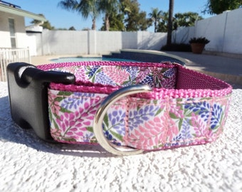 "Girl Dog Collar, 1"" wide Quick Release buckle or Martingale collar adjustable Wisteria - see details for info & size guide"