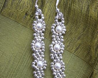 Beaded Pearl Dangle Earrings Womens Woven Jewelry Birthday Gift