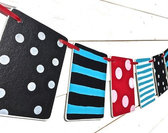 DR SEUSS Banner, Birthday banner, dr suess garland, teal black red, baby shower banner, boy, bedroom decoration, playroom banner, party