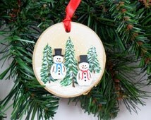Birch Ornament Snowmen Birch Wood Primitive Country Ornament Hand Painted Christmas