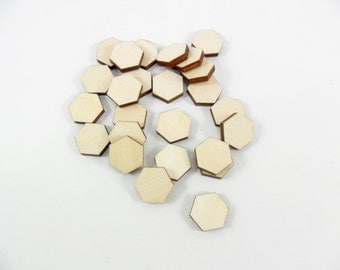 25 Wood Hexagon 12mm Stud Earrings Unfinished Hexagon Bead Tiles Shapes Jewelry Making Pendant