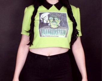 Frankenstein Monster Vinatge Iron On Lime Green Sweatshirt Collared Crop Top Halloween