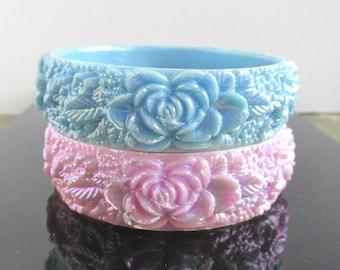 2 Aurora Borealis Flower Bangle Bracelet - Light Purple & Light Blue - Vintage