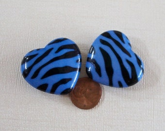 Two Large Blue Zebra Striped Lucite Heart Beads