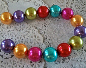 Gorgeous Large Multi Colored Acrylic Pearls Strand