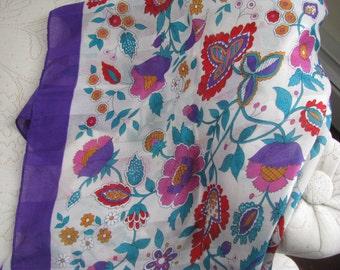 Vintage Purple and Flowers Scarf