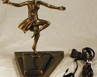 Art Deco Lady with Bird Fan Lamp Base 8 Inch - NEW