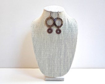 Brown and Copper Drop Earrings, Brown and Beige Large Wooden Rings, Embossed Copper Rings and Copper Hooks