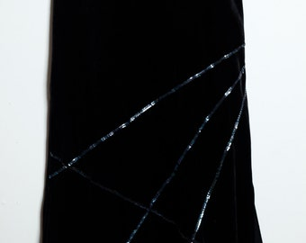 Awesome Vintage 80s/90s Goth Grunge Black Velvet Like Long Skirt With Mermaid Sequins and Slits