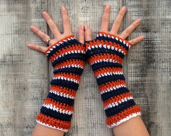 Go TEAM! extra soft striped gloves in Orange, Navy Blue, and White