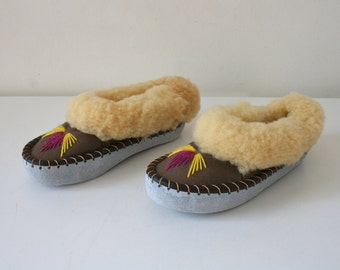 Embroidered Fur Slippers