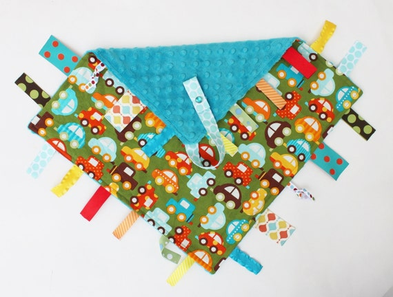 Baby Boy Colorful Cars Ribbon Tag Sensory Blankie with Pacifier Clip Large 16 x 16 Turqoise Dot Minky
