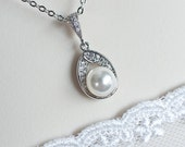 Bridal Necklace, Bridal  Pearl Necklace, Swarovski Pearl and Cubic Zirconia Bridal Necklace, Pearl Pendant, Pearl Necklace, Wedding Jewelry