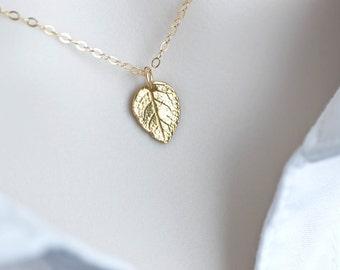 Tiny Gold Leaf Necklace, 24K Gold Vermeil Leaf Necklace, Petite Leaf Necklace, Modern Minimalist Everyday Wear Necklace