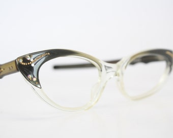 Green Fade Rhinestone cat eye glasses vintage cateye eyeglasses frames